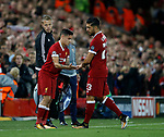 Philippe Coutinho of Liverpool replaces Emre Can of Liverpool during the Champions League Group E match at the Anfield Stadium, Liverpool. Picture date 13th September 2017. Picture credit should read: Simon Bellis/Sportimage