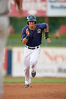 Lake County Captains shortstop Luke Wakamatsu (12) runs the bases during the second game of a doubleheader against the West Michigan Whitecaps on August 6, 2017 at Classic Park in Eastlake, Ohio.  West Michigan defeated Lake County 9-0.  (Mike Janes/Four Seam Images)