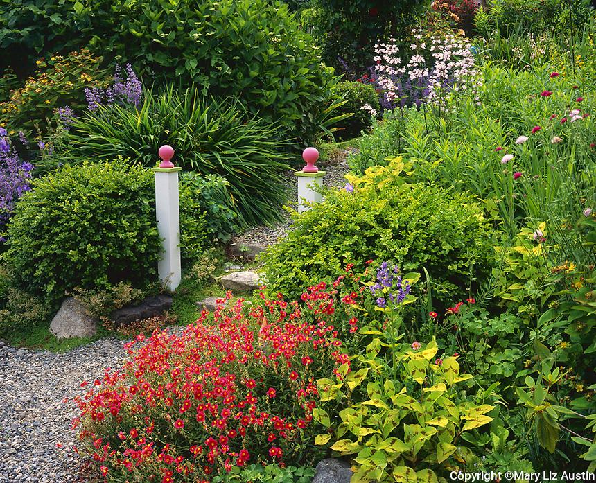 Vashon Island, WA: Two pillars mark the entrance to a garden path