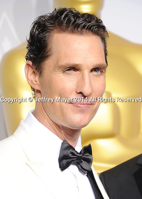 HOLLYWOOD, CA- MARCH 02: Actor Matthew McConaughey poses in the press room during the 86th Annual Academy Awards at Loews Hollywood Hotel on March 2, 2014 in Hollywood, California.