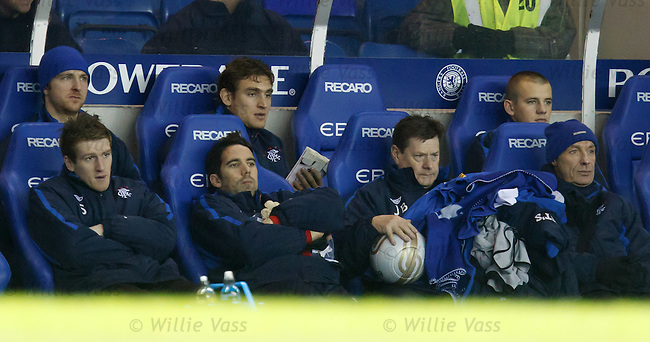 Nikica Jelavic sitting on the bench next to Andy Webster