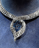 HOPE DIAMOND IN ANNIVERSARY SETTING<br /> Blue Color Attributed to Trace Amounts of Boron<br /> The Hope Diamond was placed in a modernized setting in November 2011 to commemorate the fifty year anniversary of the stone being on view at the Smithsonian National Museum of Natural History  in Washington, D.C. Diamond is an allotrope of carbon.