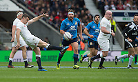 Twickenham, United Kingdom.     Goerge FORD, clearing his lines, during the. 6 Nations International Rugby Match England vs Italy at the RFU Stadium, Twickenham, England, <br /> <br /> Sunday  26/02/2017<br /> <br /> [Mandatory Credit; Peter Spurrier/Intersport-images]