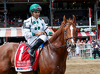 Promises Fulfilled (no. 1) wins the Allen Jerkens  Stakes (Grade 1), Aug. 25, 2018 at the Saratoga Race Course, Saratoga Springs, NY.  Ridden by  Luis Saez, and trained by Dale Romans, Promises Fulfilled finished 1 1/4 lengths in front of Seven Trumpets (No. 5).  (Bruce Dudek/Eclipse Sportswire)