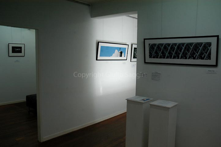 The photo 'Opera House Seagull' sits atop the steps into Circle Gallery during the exhibition.
