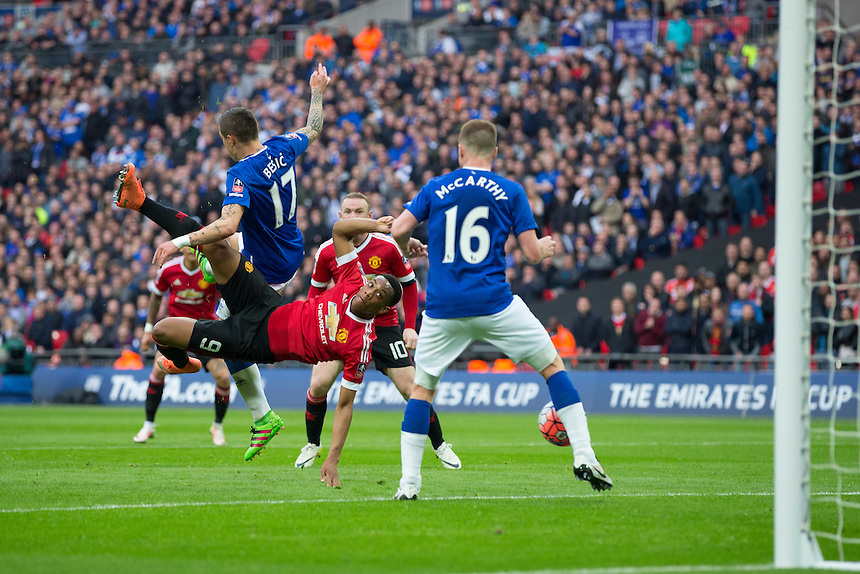 Manchester United's Anthony Martial has a shot at goal with an overhead kick<br /> <br /> Photographer Craig Mercer/CameraSport<br /> <br /> Football - The FA Cup Semi Final - Everton v Manchester United - Saturday 23rd April 2016 - Wembley - London<br /> <br /> &copy; CameraSport - 43 Linden Ave. Countesthorpe. Leicester. England. LE8 5PG - Tel: +44 (0) 116 277 4147 - admin@camerasport.com - www.camerasport.com
