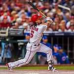 6 October 2017: Washington Nationals third baseman Anthony Rendon in action during the first game of the NLDS against the Chicago Cubs at Nationals Park in Washington, DC. The Cubs shut out the Nationals 3-0 to take a 1-0 lead in their best of five Postseason series. Mandatory Credit: Ed Wolfstein Photo *** RAW (NEF) Image File Available ***