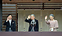 December 23, 2011, Tokyo, Japan - Japan's Emperor Akihito (C) waves with Empress Michiko (R), Crown Prince Naruhito (L) to well-wishers, who celebrate his 78th birthday, from a balcony of the Imperial Palace in Tokyo on Friday, December 23, 2011. (Photo by Natsuki Sakai/AFLO)