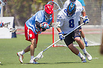 Orange, CA 05/17/14 - Chris Bosscher (Grand Valley State #8) and unidentified St John University player(s) in action during the 2014 MCLA Division II Men's Lacrosse Championship game between Grand Valley State University and St John University at Chapman University in Orange, California.  Grand Valley Defeated St John 12-11.