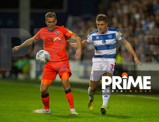 Millwall's Jed Wallace and QPR Jake Bidwell during the Sky Bet Championship match between Queens Park Rangers and Millwall at Loftus Road Stadium, London, England on 19 September 2018. Photo by Andrew Aleksiejczuk / PRiME Media Images.