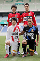 Masaya Nozaki, Tomoaki Makino, Shinya Yajima, Popo (Reds),.JANUARY 19, 2012 - Football / Soccer :.Urawa Red Diamonds new signing players (Top row - L to R) Masaya Nozaki, Tomoaki Makino, (Bottom row - L to R) Shinya Yajima and Popo pose after the press conference at Saitama Stadium 2002 in Saitama, Japan. (Photo by AFLO)