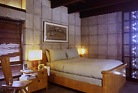 Frank Lloyd Wright:  John Storer House, Hollywood, 1923. Interior, bedroom.  Photo April 2000.