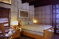 Frank Lloyd Wright:  John Storer House, Hollywood, 1923. Interior, bedroom.  Photo April 2000.