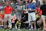 27 August 2011: Philadelphia's Natasha Kai limps off the field after suffering a game-ending leg injury. Western New York Flash defeated the Philadelphia Independence 5-4 on penalty kicks to win the final after the game ended in a 1-1 tie after overtime at Sahlen's Stadium in Rochester, New York in the Women's Professional Soccer championship game.