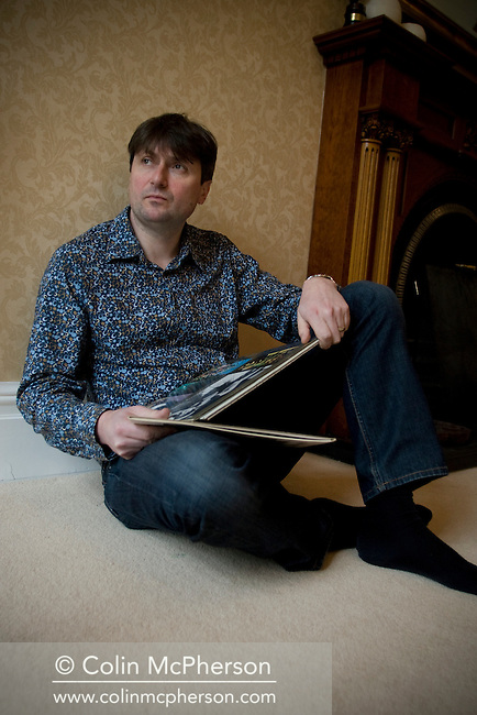 British poet, playwright and novelist Simon Armitage, pictured at his home in Meltham, near Holmfirth, Yorkshire. Armitage has recently become a member of a rock band and is publishing a book about his new career in the music industry.