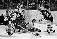 Boston Bruins Carol Vadnais, Dallas Smith, and goalie<br />Ken Broderick...Seals Hilliard Graves.(1973 photo/Ron Riesterer)