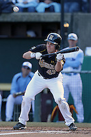 Dane Opel, #47, of the Missouri Tigers bunts against the North Carolina Tar Heels at Dedeaux Field on February 20, 2011 in Los Angeles,California. Photo by Larry Goren/Four Seam Images