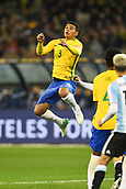 June 9th 2017, Melbourne Cricket Ground, Melbourne, Australia; International Football Friendly; Brazil versus Argentina; Thaigo Silvaof  of Brazil jumps to head the ball in front of goal