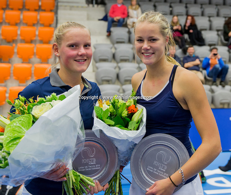 Rotterdam, Netherlands, December 14, 2016, Topsportcentrum, Lotto NK Tennis, Lady's doubles, Winners: Suzan Lamens (L) and Nina Kuijer,  <br /> Photo: Tennisimages/Henk Koster