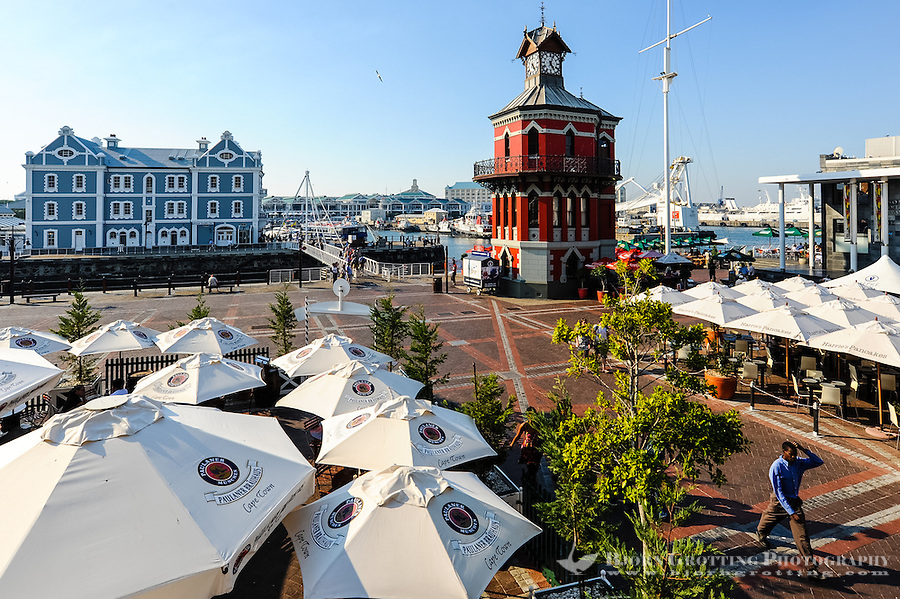 The Victoria & Alfred Waterfront in the harbour of Cape Town, South Africa. The Clock Tower from 1883.