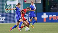 Portland, OR - Saturday July 30, 2016: Nahomi Kawasumi, Emily Menges during a regular season National Women's Soccer League (NWSL) match between the Portland Thorns FC and Seattle Reign FC at Providence Park.