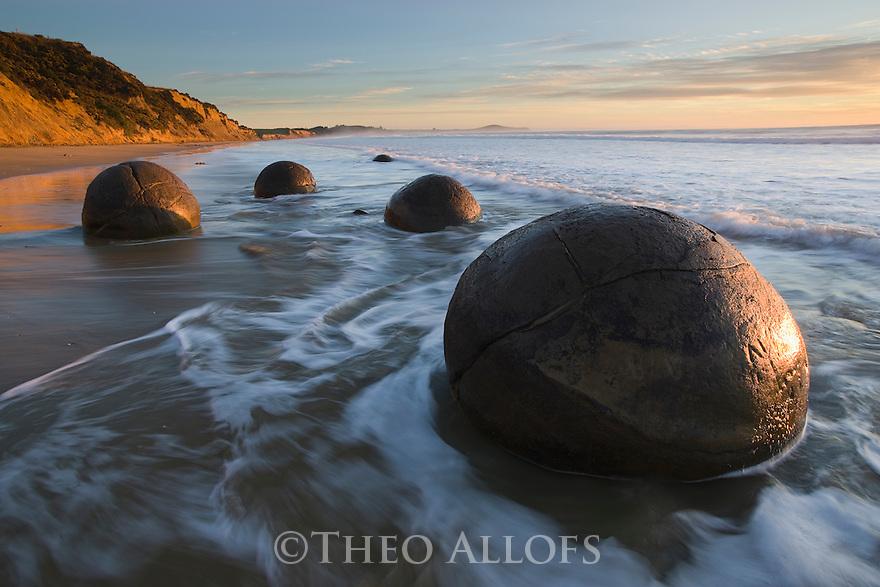 Moeraki Boulders at sunrise, South Island, New Zealand