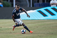 FOXBOROUGH, MA - JULY 27:  Cristian Penilla #70 is pursued by Ruan #2 at Gillette Stadium on July 27, 2019 in Foxborough, Massachusetts.