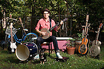 April 30, 2011. Durham, NC.. Phil Cook, of Phil Cook & his Feat, with some of the instruments he uses.