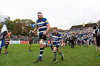 Charlie Ewels, mascot in hand, leads the Bath Rugby team out onto the field. Aviva Premiership match, between Bath Rugby and Worcester Warriors on October 7, 2017 at the Recreation Ground in Bath, England. Photo by: Patrick Khachfe / Onside Images