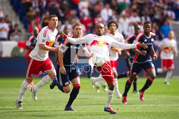 Dane Richards (19) of the New York Red Bulls. The New York Red Bulls defeated the New England Revolution 1-0 during a Major League Soccer (MLS) match at Red Bull Arena in Harrison, NJ, on April 28, 2012.