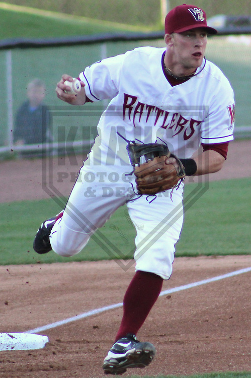 APPLETON - MAY 2011: Greg Hopkins (5) of the Wisconsin Timber Rattlers, Class-A affiliate of the Milwaukee Brewers, during a game on May 17, 2011 at Fox Cities Stadium in Appleton, Wisconsin. (Photo by Brad Krause) ........