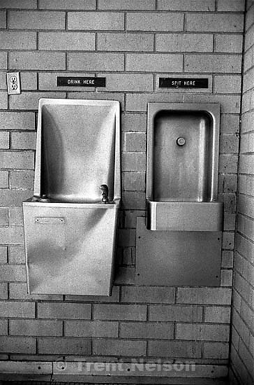 water faucets. Sign at the Deseret Gym.<br />