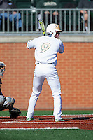 Brett Netzer (9) of the Charlotte 49ers at bat against the Xavier Musketeers at Hayes Stadium on March 3, 2017 in Charlotte, North Carolina.  The 49ers defeated the Musketeers 2-1.  (Brian Westerholt/Four Seam Images)