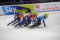 SHORTTRACK: DORDRECHT: Sportboulevard Dordrecht, 24-01-2015, ISU EK Shorttrack, Daan BREEUWSMA (NED | #49), Vladislav BYKANOV (ISR | #39), Freek VAN DER WART (NED | #52), Semen ELISTRATOV (RUS | #61), ©foto Martin de Jong