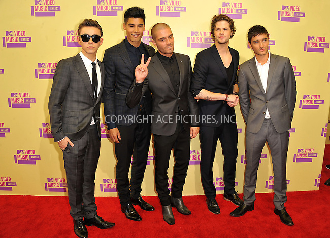 WWW.ACEPIXS.COM....September 6, 2012, Los Angeles, CA.......Max George, Jay McGuiness, Nathan Sykes, Tom Parker and Siva Kaneswaran of The Wanted arriving at the 2012 MTV Video Awards at the Staples Center on September 6, 2012 in Los Angeles, California. ..........By Line: Peter West/ACE Pictures....ACE Pictures, Inc..Tel: 646 769 0430..Email: info@acepixs.com