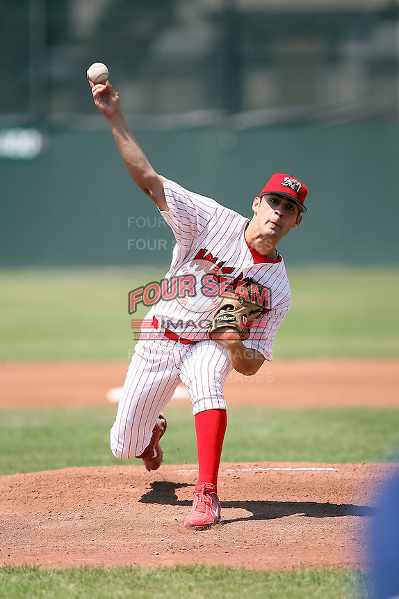 August 13th, 2007:  Pete Parise of the Batavia Muckdogs, Short-Season Class-A affiliate of the St. Louis Cardinals at Dwyer Stadium in Batavia, NY.  Photo by:  Mike Janes/Four Seam Images