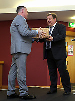 Pictured L-R: Nigel Rees presents a hamper to Kevin Johns. Saturday 27 May 2017<br /> Re: Swansea City FC Academy Awards Evening at the Liberty Stadium, Wales, UK