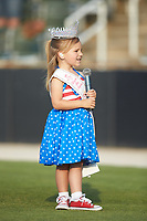 McKenzie Kincaid sings the National Anthem prior to the South Atlantic League game between the Delmarva Shorebirds and the Kannapolis Intimidators at Kannapolis Intimidators Stadium on June 4, 2019 in Kannapolis, North Carolina. The Intimidators defeated the Shorebirds 9-0. (Brian Westerholt/Four Seam Images)