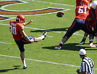 Virginia punter Alec Vozenilek (30) Ball State defeated Virginia 48-27 during an NCAA football game Saturday Oct. 5, 2013 at Scott Stadium in Charlottesville, VA. Photo/Andrew Shurtleff