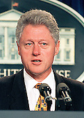 United States President Bill Clinton delivers a statement on the shootings in Littleton, Colorado from the Press Briefing Room at the White House in Washington, DC on 20 April, 1999.<br /> Credit: Ron Sachs / CNP