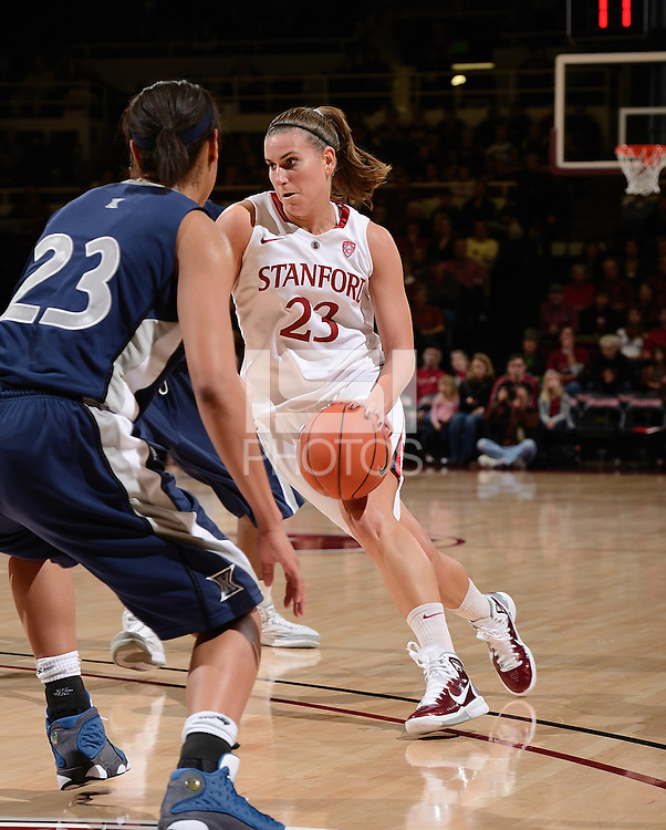 STANFORD, CA - DECEMBER 28: Jeanette Pohlen of Stanford women's basketball switches direction in a game against Xavier on December 28, 2010 at Maples Pavilion in Stanford, California.  Stanford topped Xavier, 89-52.