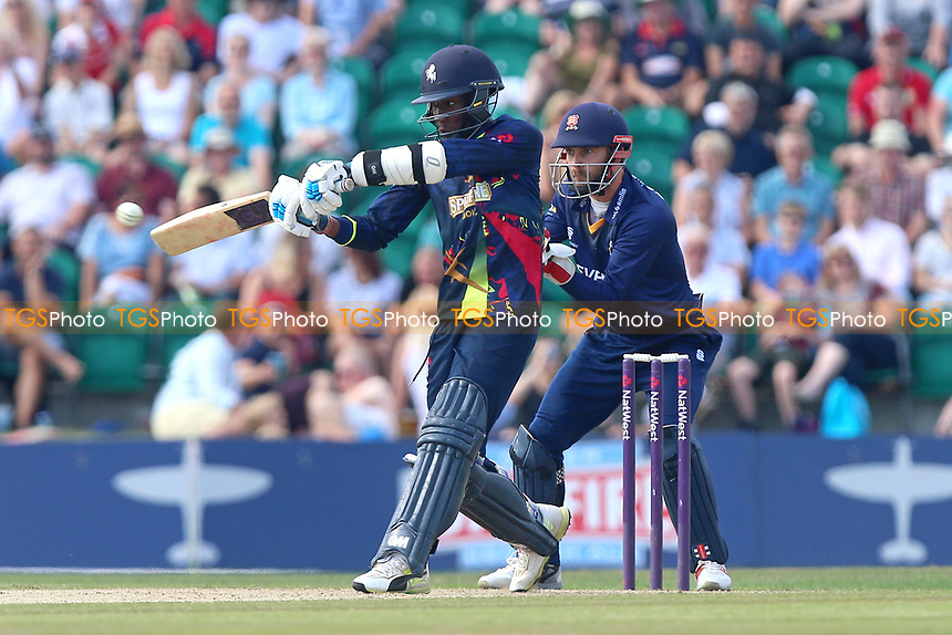Daniel Bell-Drummond in batting action for Kent as James Foster looks on from behind the stumps during Kent Spitfires vs Essex Eagles, NatWest T20 Blast Cricket at The County Ground on 9th July 2017