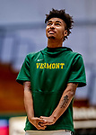 8 January 2020: University of Vermont Catamount Guard Aaron Deloney, a Freshman from Portland, OR, prepares for warmups prior to a game against the Stony Brook University Seawolves at Patrick Gymnasium in Burlington, Vermont. The Seawolves defeated the Catamounts 81-77 in a closely fought game. Mandatory Credit: Ed Wolfstein Photo *** RAW (NEF) Image File Available ***