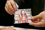 An exhibitor shows a pictures printed on a edible paper during the 42nd International Food and Beverage Exhibition (FOODEX JAPAN 2017) in Makuhari Messe International Convention Complex on March 8, 2017, Chiba, Japan. About 3,282 companies from 77 nations are participating in the Asia's largest food and beverage trade show. This year organizers expect 77,000 visitors for the four-day event, which runs until March 10. (Photo by Rodrigo Reyes Marin/AFLO)