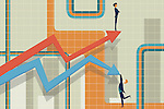 Illustrative image of businessmen and arrows representing rise and fall in stock market