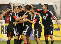 D.C. United forward Chris Pontius (13) celebrates his score in the 49th minute of the game.  D.C. United defeated The Columbus Crew 1-0 at RFK Stadium, Saturday August 4, 2012.