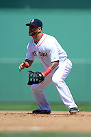 Boston Red Sox first baseman Mike Napoli #12 during a Spring Training game against the Miami Marlins at JetBlue Park on March 27, 2013 in Fort Myers, Florida.  Miami defeated Boston 5-1.  (Mike Janes/Four Seam Images)