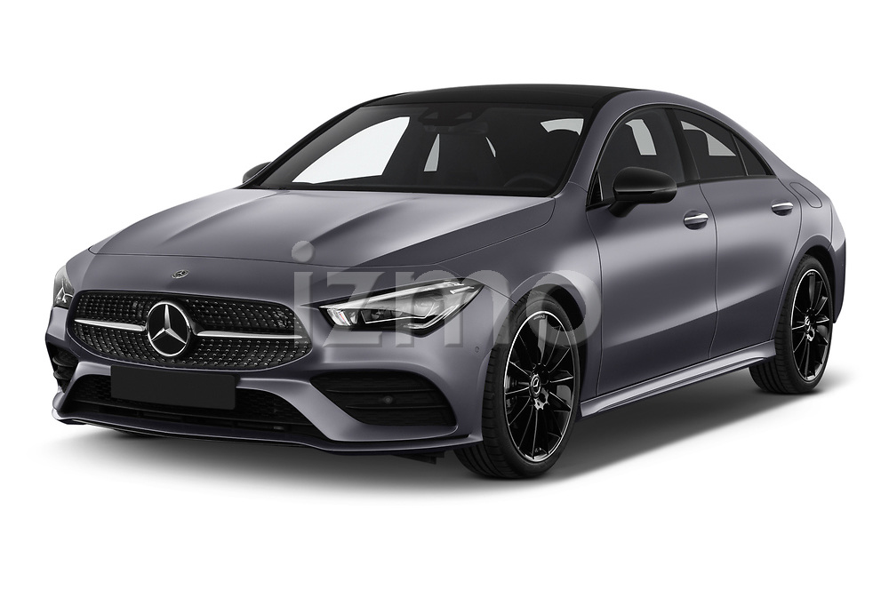 2020 Mercedes Benz CLA AMG-Line 4 Door Sedan angular front stock photos of front three quarter view