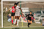 KANSAS CITY, MO - DECEMBER 02: Skylar Drum (32) of the University of Central Missouri and Magda Mosengo (9) of Carson-Newman University contest for a header during the Division II Women's Soccer Championship held at the Swope Soccer Village on December 2, 2017 in Kansas City, Missouri. (Photo by Doug Stroud/NCAA Photos/NCAA Photos via Getty Images)