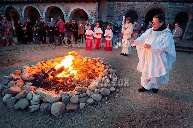 Lighting of the New Fire during Easter Eve Vigil Service, Mission San Antonio de Padua, California.